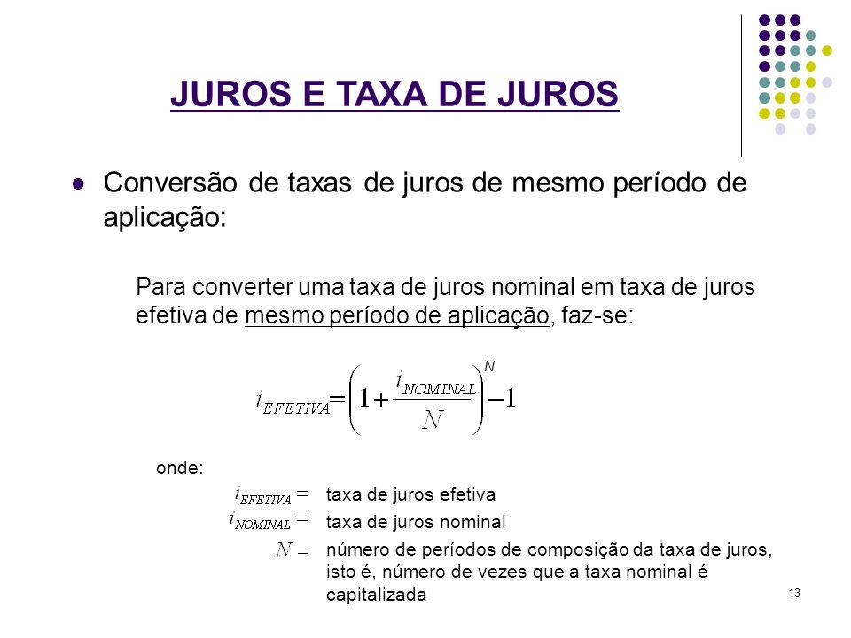 JUROS E TAXA DE JUROS Conversão de taxas de juros de mesmo período de aplicação: