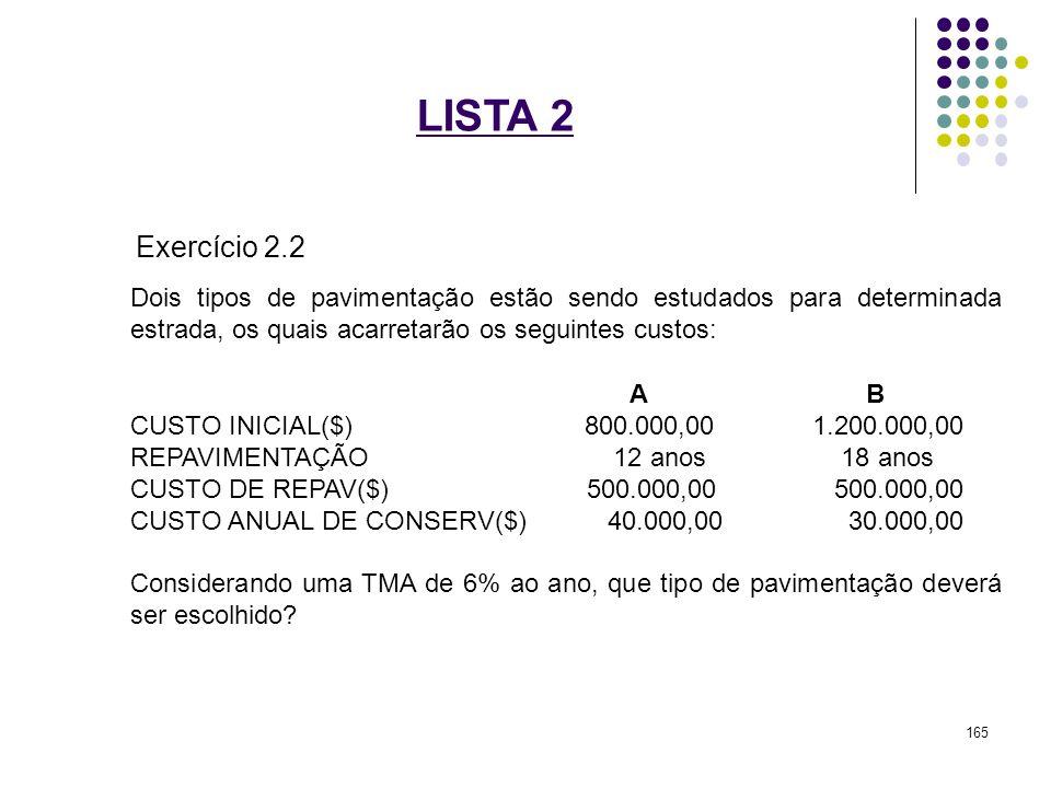 LISTA 2 Exercício 2.2. Dois tipos de pavimentação estão sendo estudados para determinada estrada, os quais acarretarão os seguintes custos: