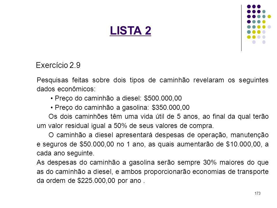 LISTA 2 Exercício 2.9. Pesquisas feitas sobre dois tipos de caminhão revelaram os seguintes dados econômicos: