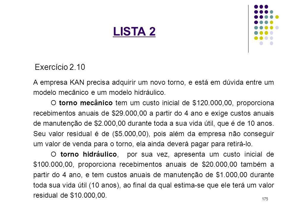 LISTA 2 Exercício 2.10. A empresa KAN precisa adquirir um novo torno, e está em dúvida entre um modelo mecânico e um modelo hidráulico.