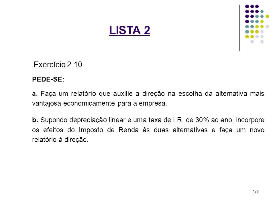 LISTA 2 Exercício 2.10 PEDE-SE: