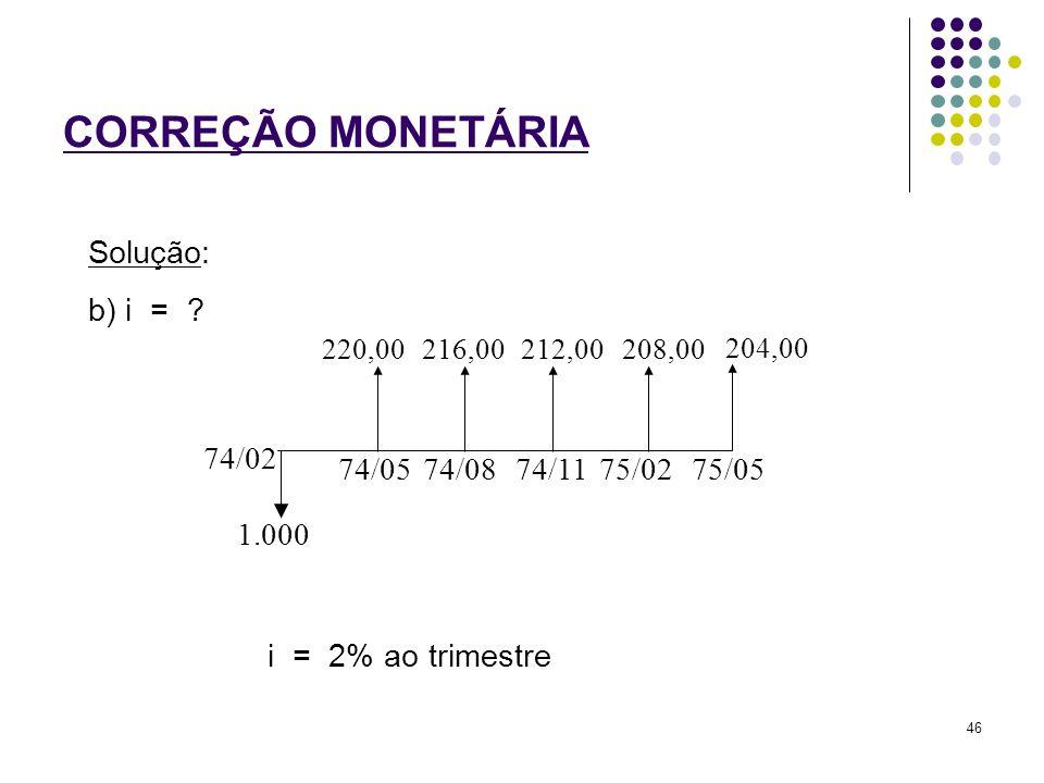 CORREÇÃO MONETÁRIA Solução: b) i = 74/02 1.000 74/05 74/08 74/11