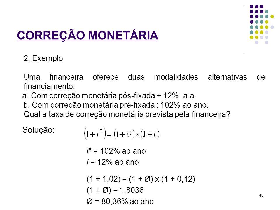 CORREÇÃO MONETÁRIA Solução: 2. Exemplo