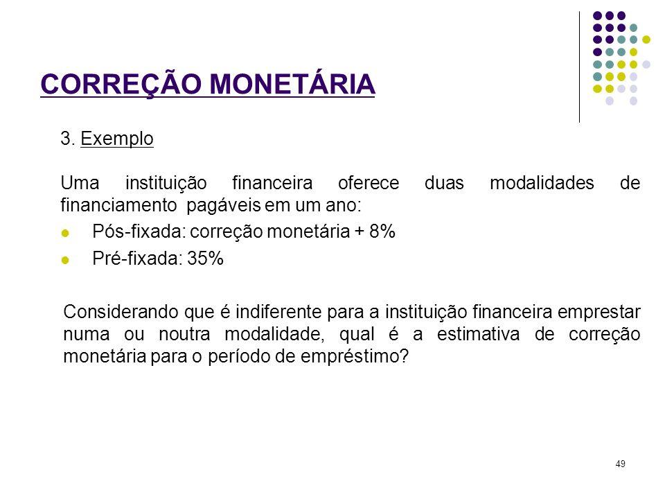 CORREÇÃO MONETÁRIA 3. Exemplo