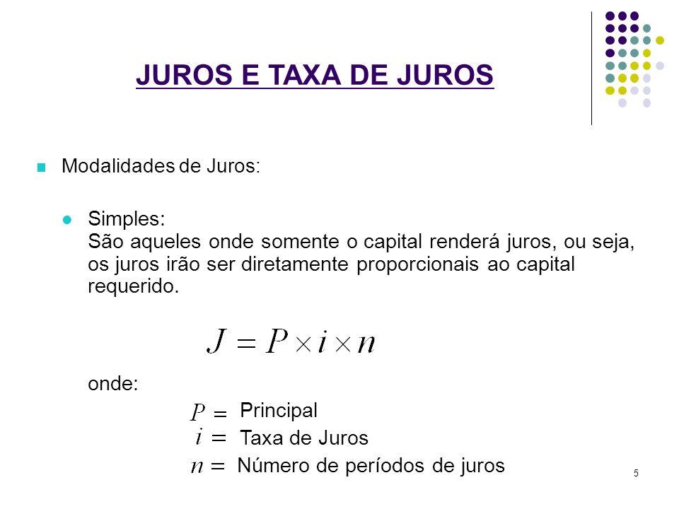 JUROS E TAXA DE JUROS Modalidades de Juros: