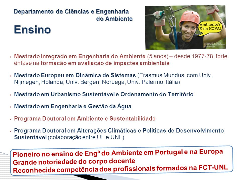 Departamento de Ciências e Engenharia do Ambiente Ensino