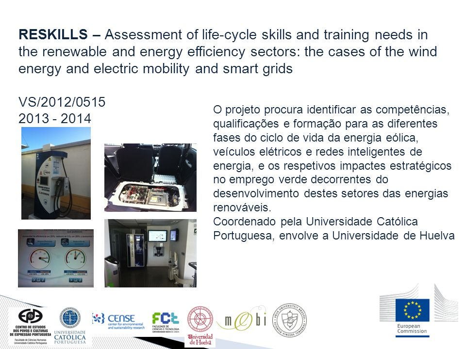 RESKILLS – Assessment of life-cycle skills and training needs in the renewable and energy efficiency sectors: the cases of the wind energy and electric mobility and smart grids
