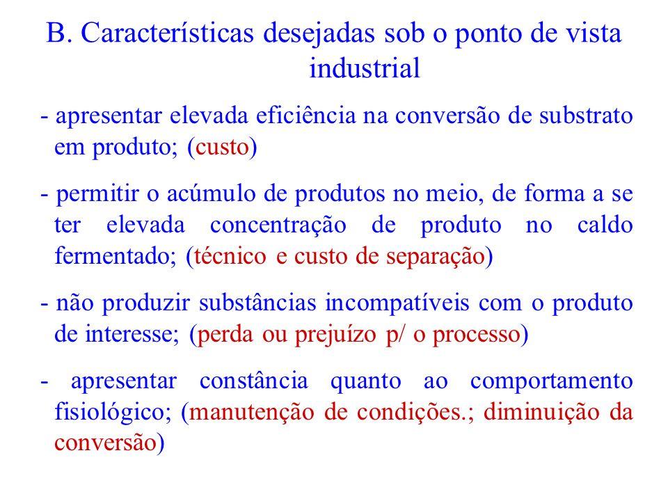 B. Características desejadas sob o ponto de vista industrial