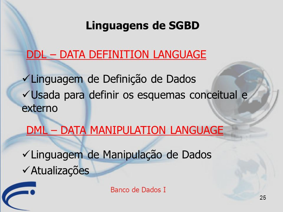 DDL – DATA DEFINITION LANGUAGE