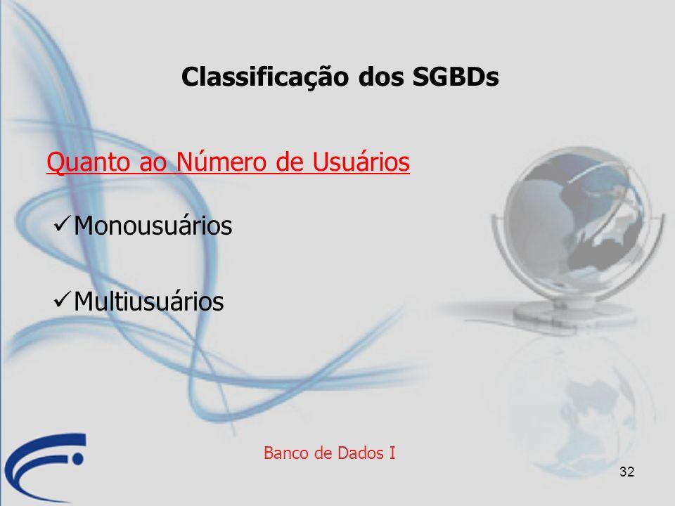 Classificação dos SGBDs
