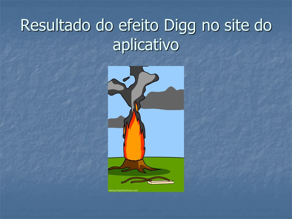 Resultado do efeito Digg no site do aplicativo