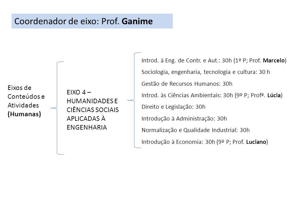 Coordenador de eixo: Prof. Ganime
