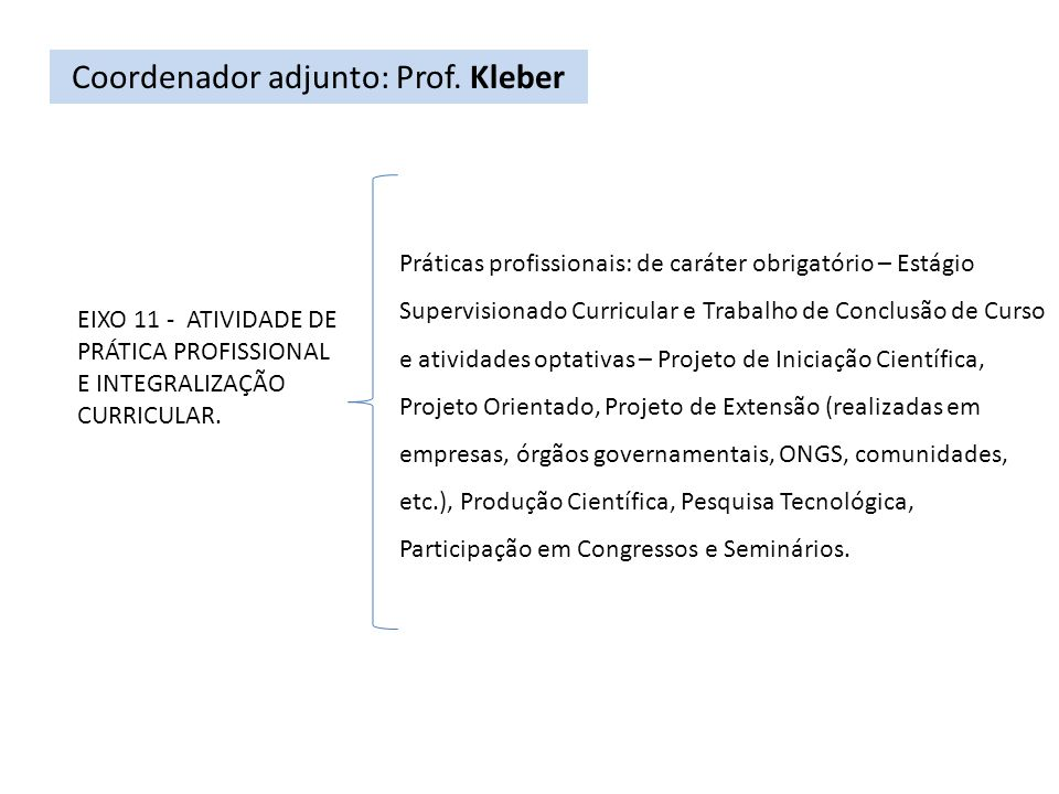 Coordenador adjunto: Prof. Kleber