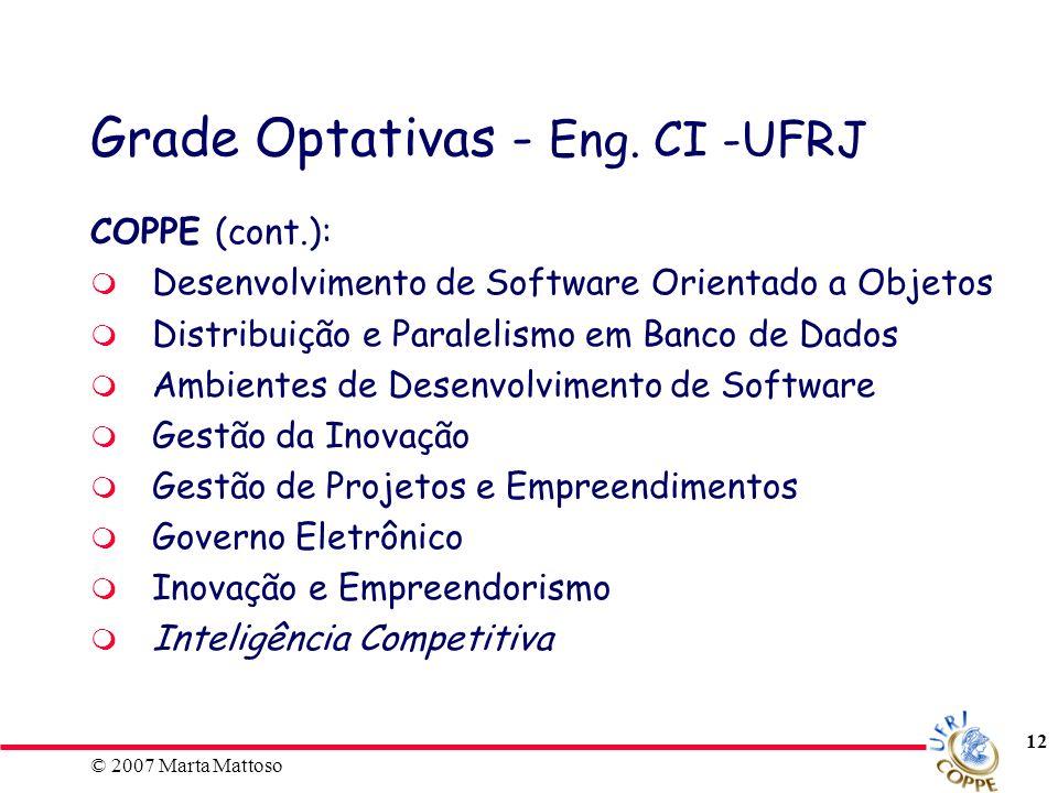 Grade Optativas - Eng. CI -UFRJ