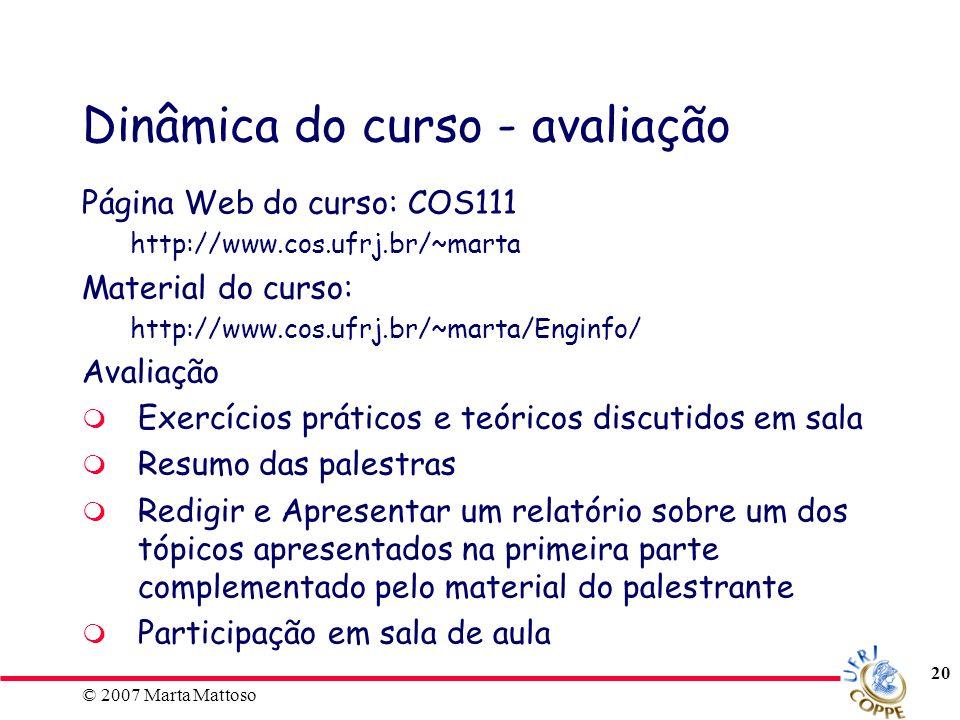 Dinâmica do curso - avaliação