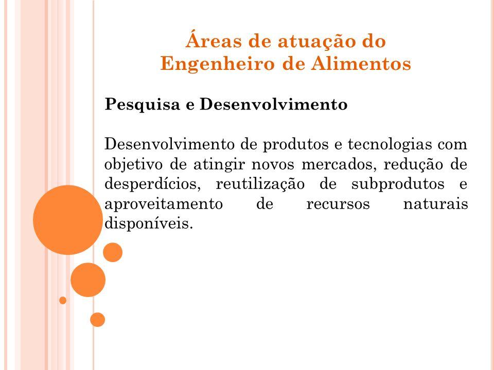 Áreas de atuação do Engenheiro de Alimentos