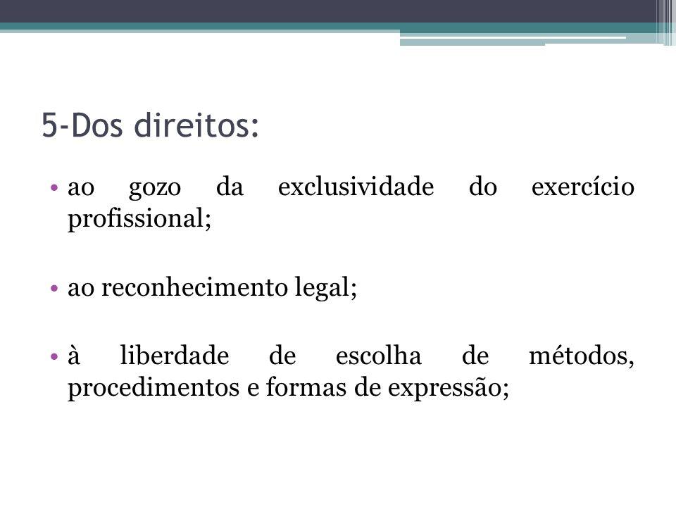 5-Dos direitos: ao gozo da exclusividade do exercício profissional;