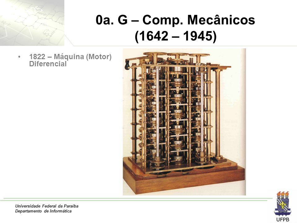 0a. G – Comp. Mecânicos (1642 – 1945) 1822 – Máquina (Motor) Diferencial