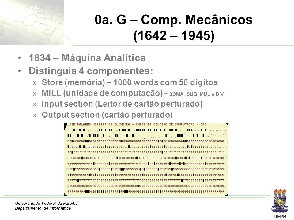 0a. G – Comp. Mecânicos (1642 – 1945) 1834 – Máquina Analítica