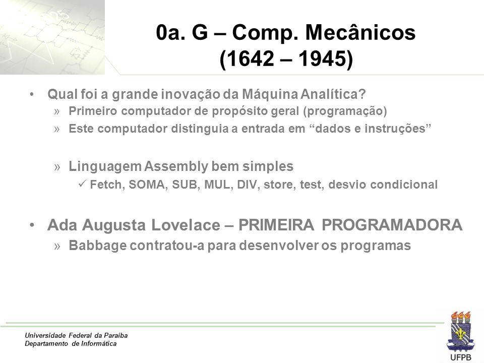 0a. G – Comp. Mecânicos (1642 – 1945) Qual foi a grande inovação da Máquina Analítica Primeiro computador de propósito geral (programação)