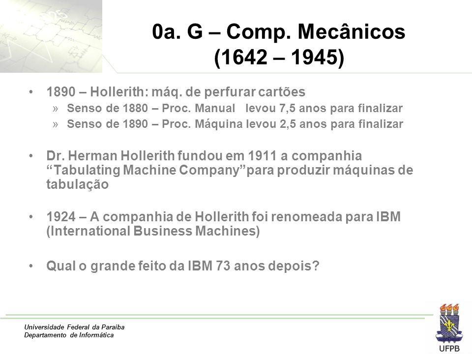 0a. G – Comp. Mecânicos (1642 – 1945) 1890 – Hollerith: máq. de perfurar cartões. Senso de 1880 – Proc. Manual levou 7,5 anos para finalizar.