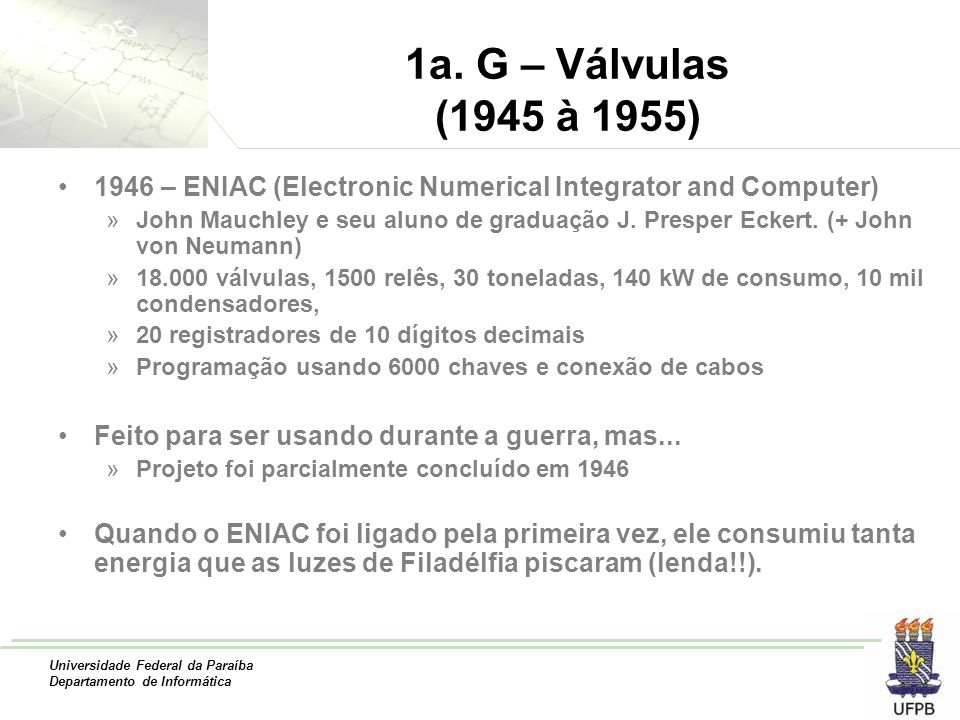 1a. G – Válvulas (1945 à 1955) 1946 – ENIAC (Electronic Numerical Integrator and Computer)