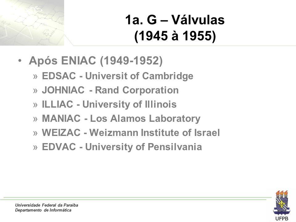1a. G – Válvulas (1945 à 1955) Após ENIAC (1949-1952)