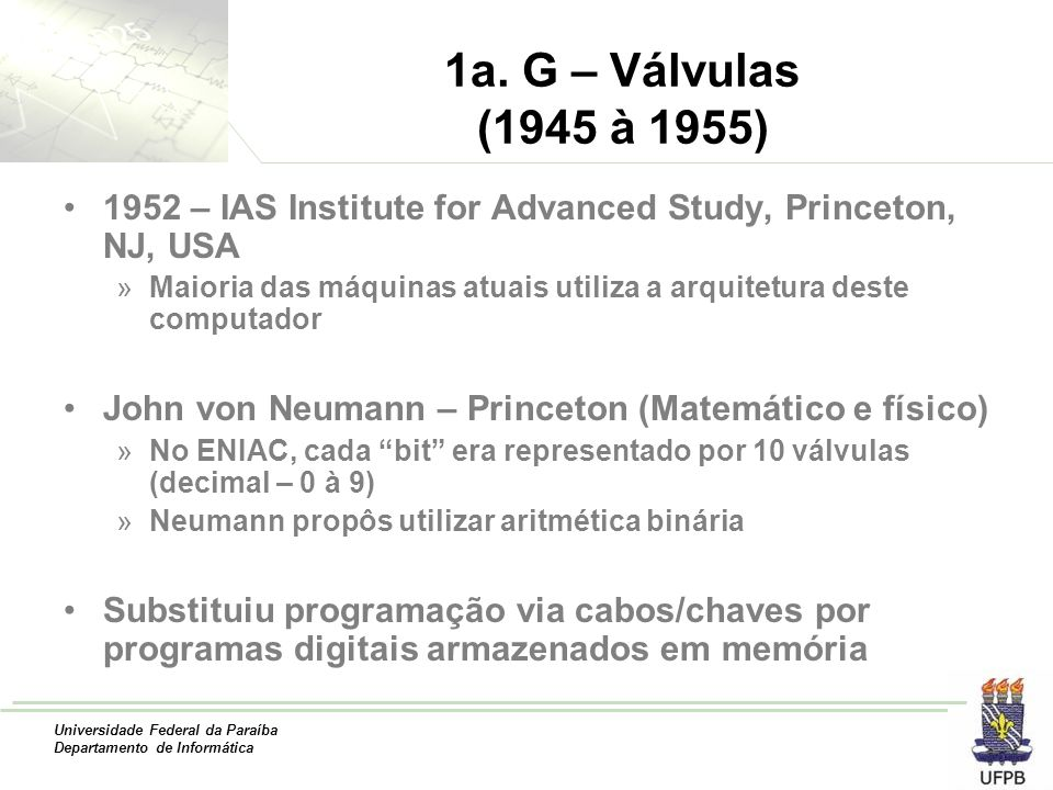 1a. G – Válvulas (1945 à 1955) 1952 – IAS Institute for Advanced Study, Princeton, NJ, USA.