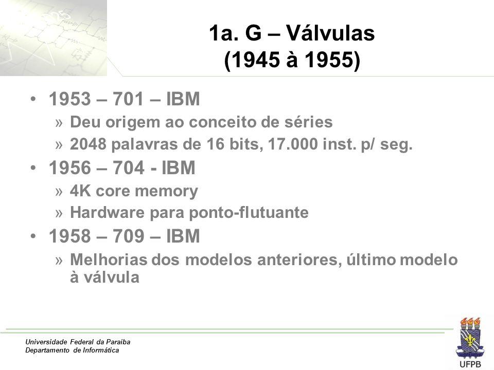 1a. G – Válvulas (1945 à 1955) 1953 – 701 – IBM 1956 – 704 - IBM