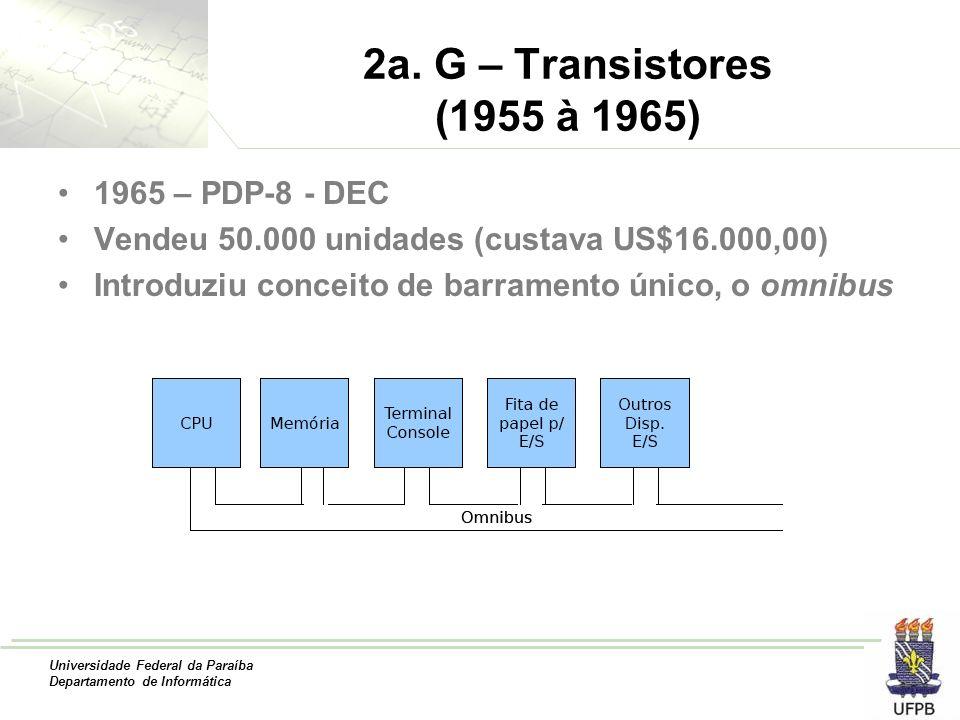 2a. G – Transistores (1955 à 1965) 1965 – PDP-8 - DEC