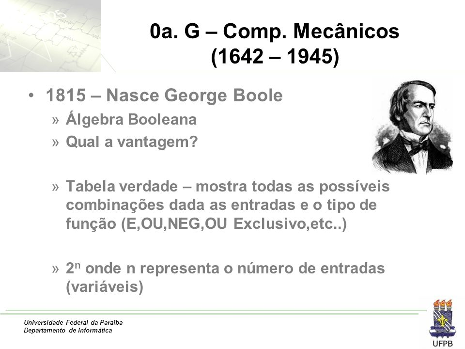 0a. G – Comp. Mecânicos (1642 – 1945) 1815 – Nasce George Boole