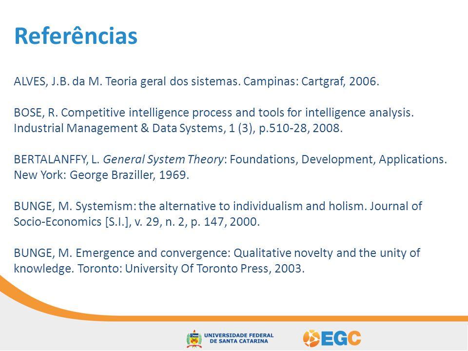 Referências ALVES, J.B. da M. Teoria geral dos sistemas. Campinas: Cartgraf, 2006.