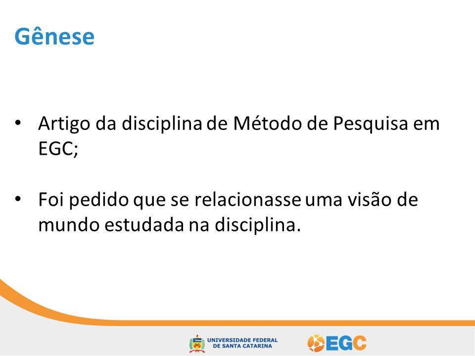 Gênese Artigo da disciplina de Método de Pesquisa em EGC;