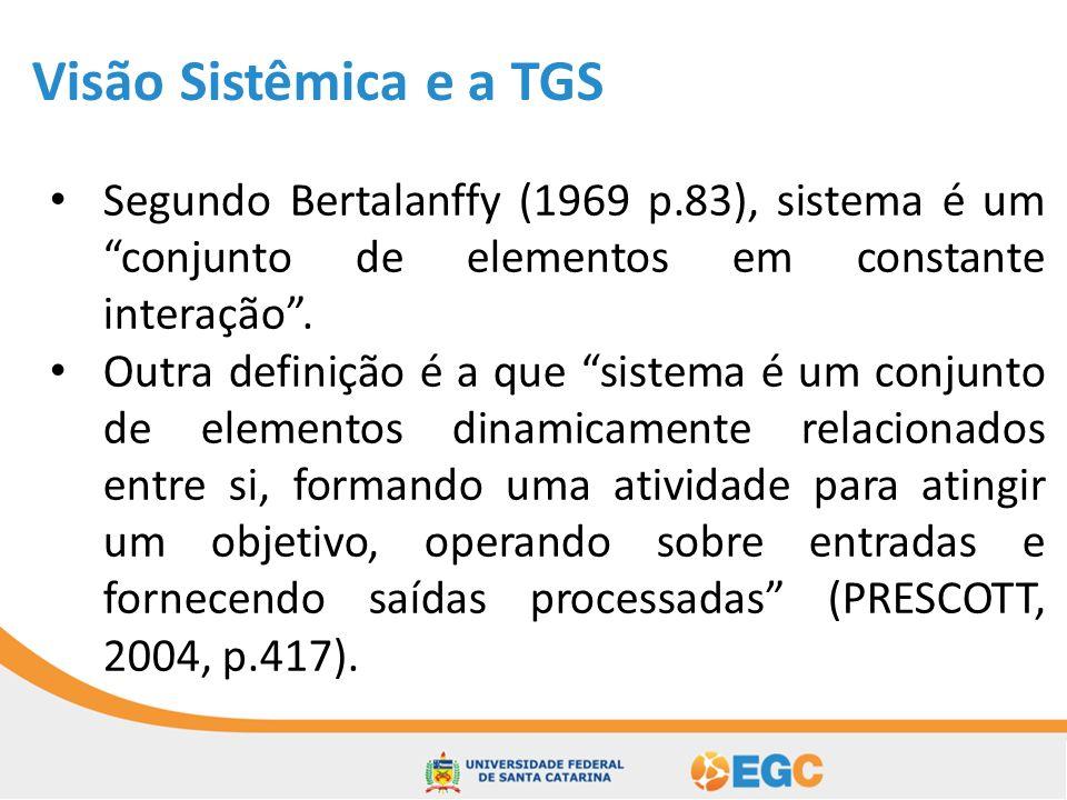 Visão Sistêmica e a TGS Segundo Bertalanffy (1969 p.83), sistema é um conjunto de elementos em constante interação .