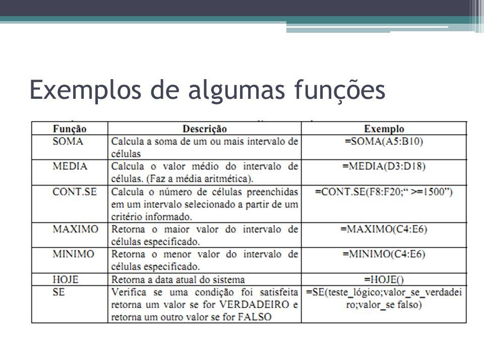 Exemplos de algumas funções