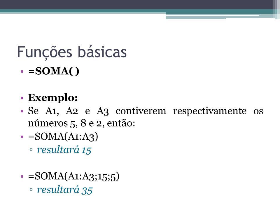 Funções básicas =SOMA( ) Exemplo: