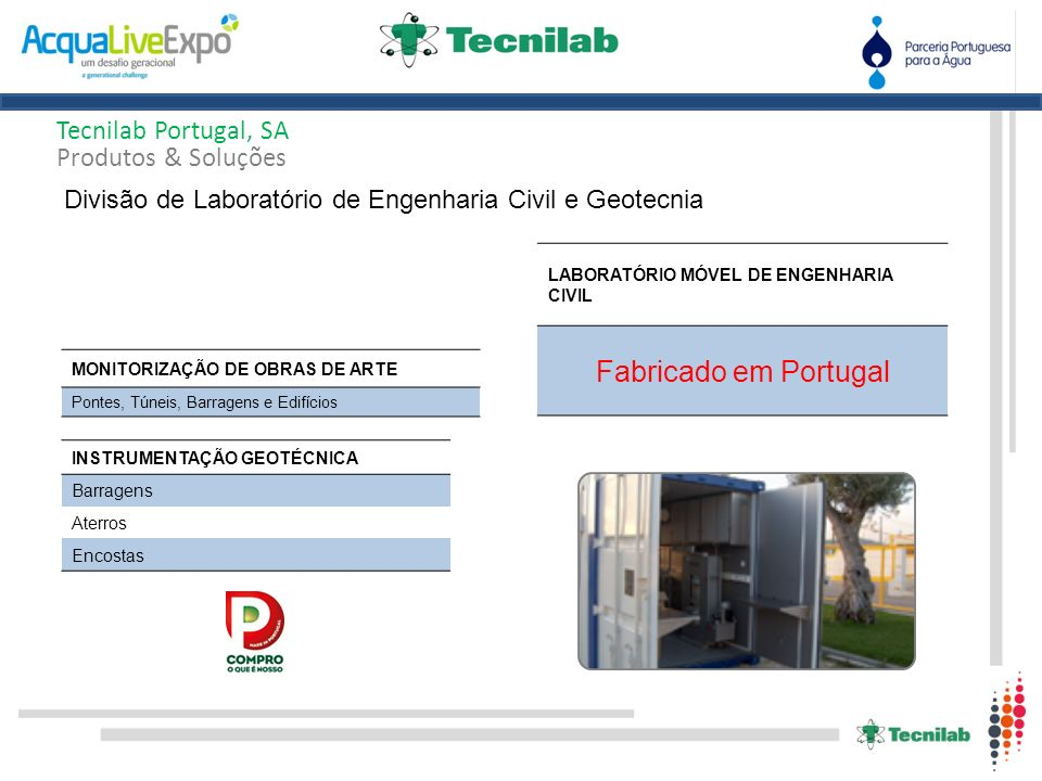 Fabricado em Portugal Tecnilab Portugal, SA Produtos & Soluções