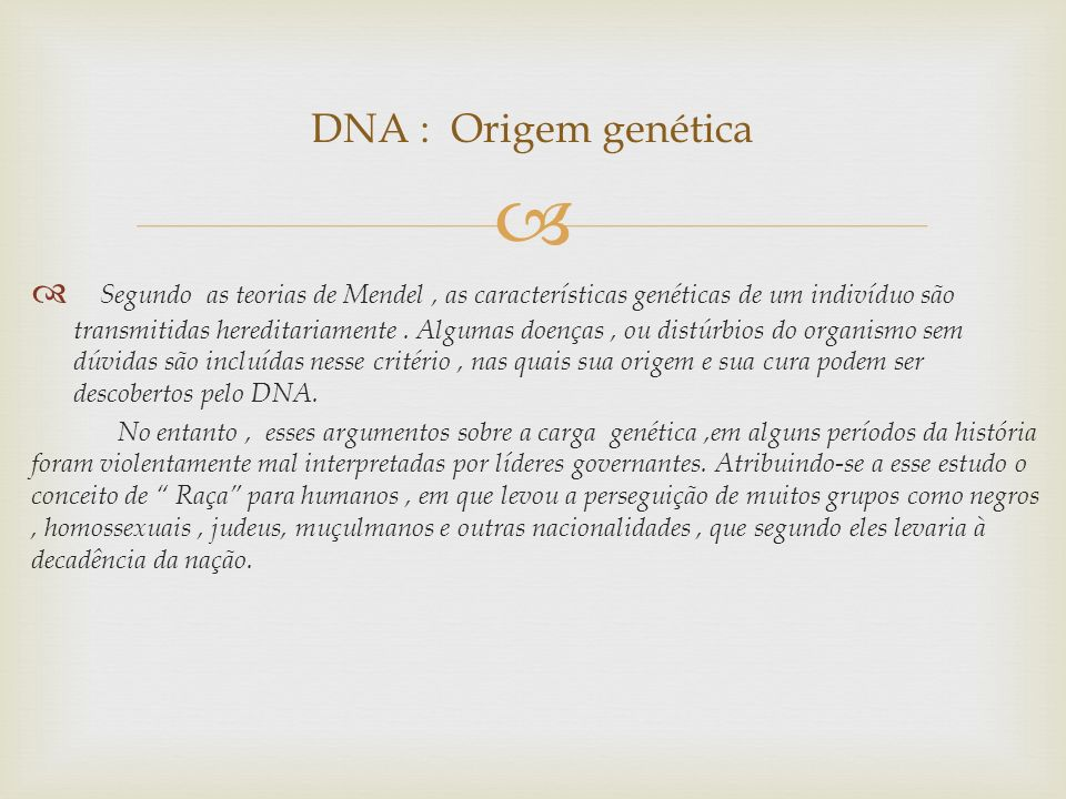 DNA : Origem genética