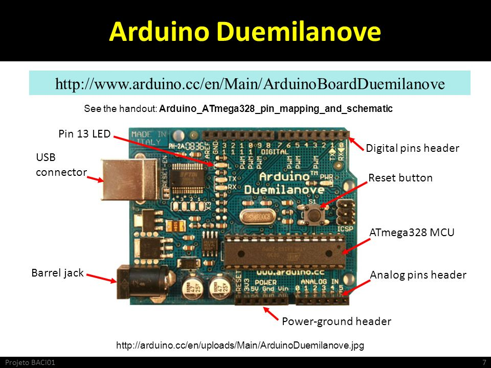 See the handout: Arduino_ATmega328_pin_mapping_and_schematic