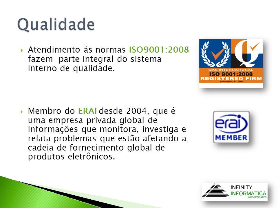 Qualidade Atendimento às normas ISO9001:2008 fazem parte integral do sistema interno de qualidade.