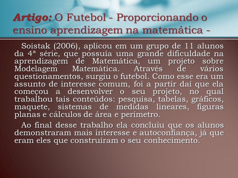 Artigo: O Futebol - Proporcionando o ensino aprendizagem na matemática -