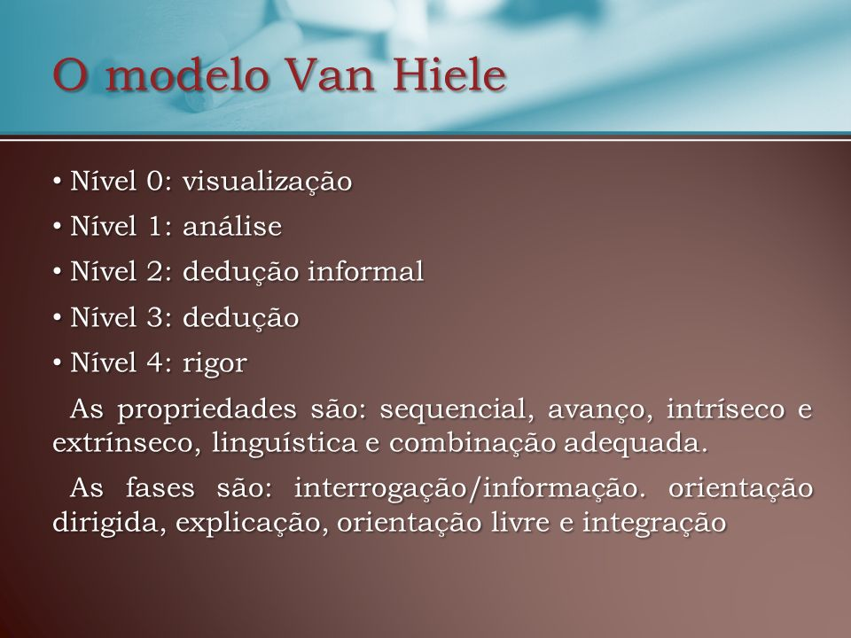 O modelo Van Hiele Nível 0: visualização Nível 1: análise