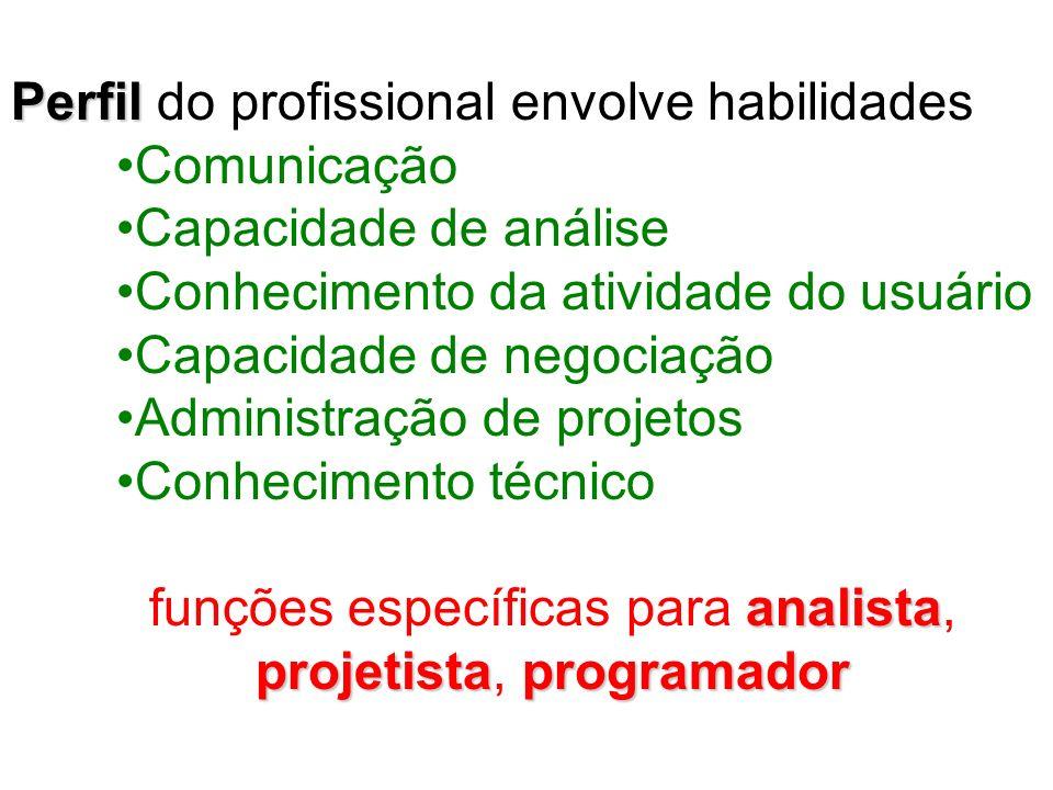 funções específicas para analista, projetista, programador