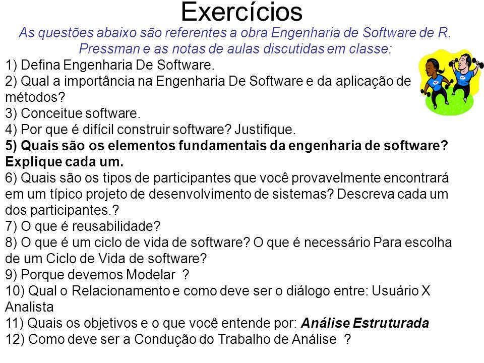 Exercícios As questões abaixo são referentes a obra Engenharia de Software de R. Pressman e as notas de aulas discutidas em classe:
