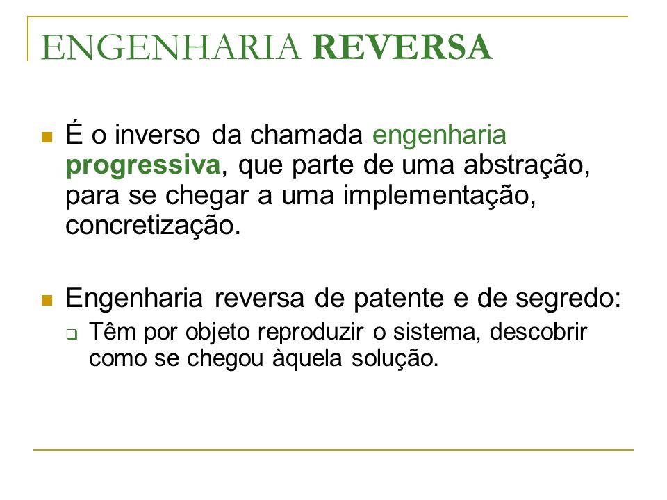ENGENHARIA REVERSA É o inverso da chamada engenharia progressiva, que parte de uma abstração, para se chegar a uma implementação, concretização.