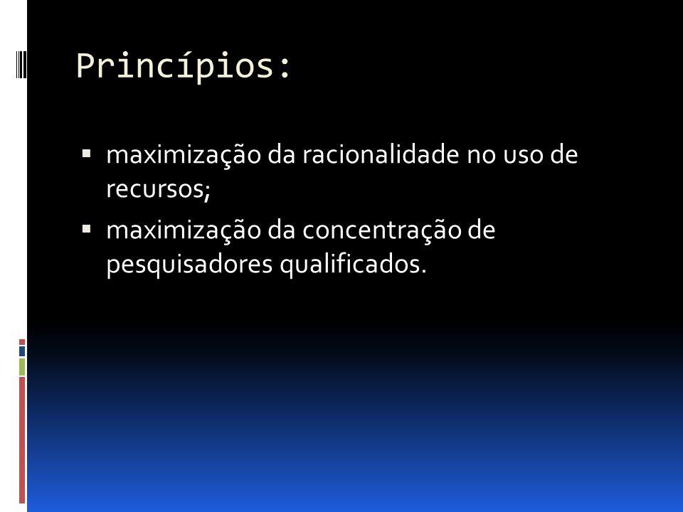 Princípios: maximização da racionalidade no uso de recursos;