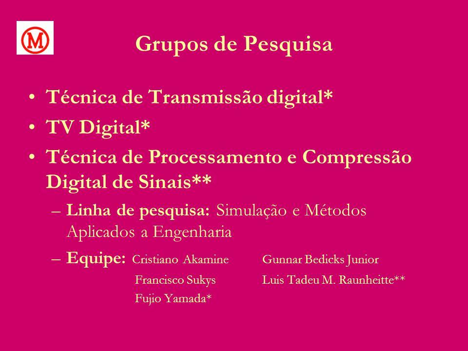 Grupos de Pesquisa Técnica de Transmissão digital* TV Digital*
