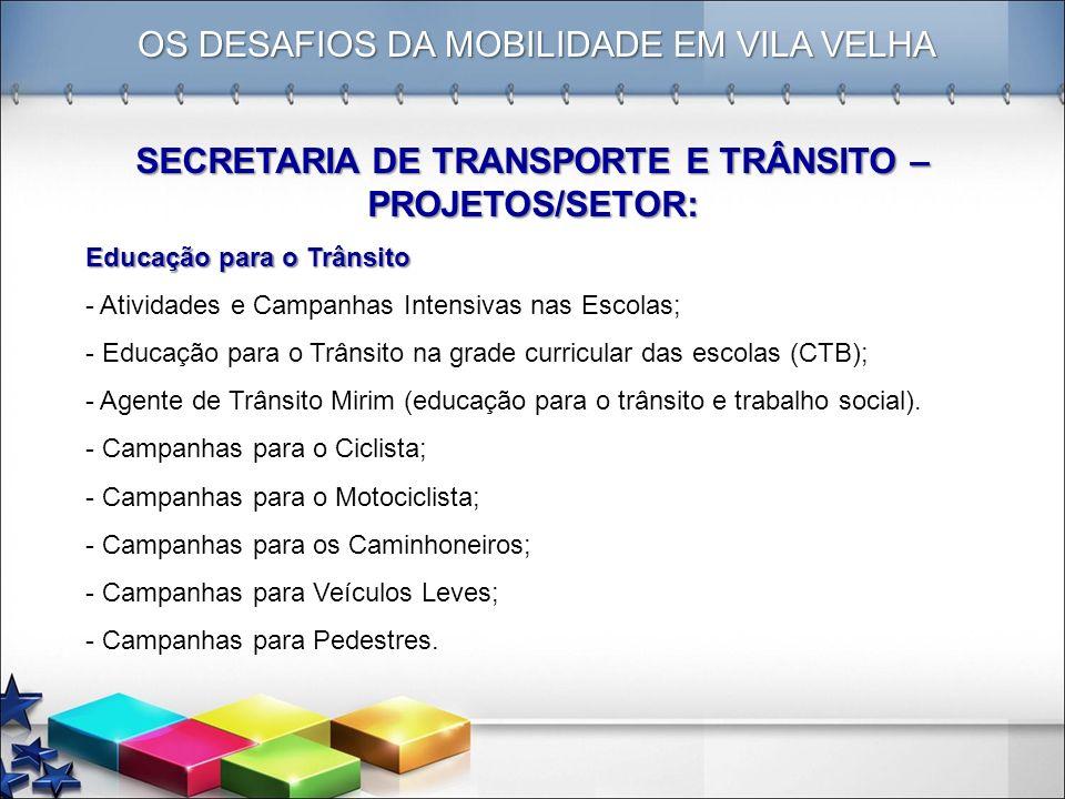 SECRETARIA DE TRANSPORTE E TRÂNSITO – PROJETOS/SETOR: