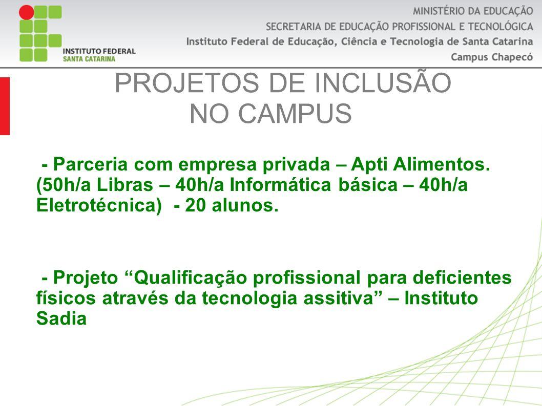 PROJETOS DE INCLUSÃO NO CAMPUS