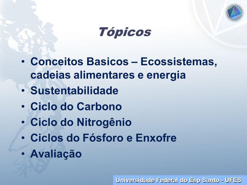 Tópicos Conceitos Basicos – Ecossistemas, cadeias alimentares e energia. Sustentabilidade. Ciclo do Carbono.